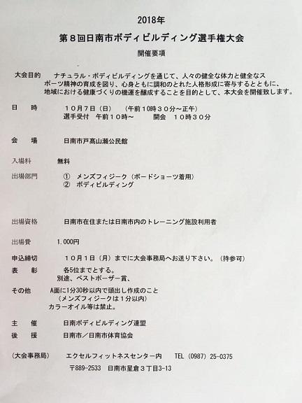第8回日南市ボディビルディング選手権大会  開催要項!